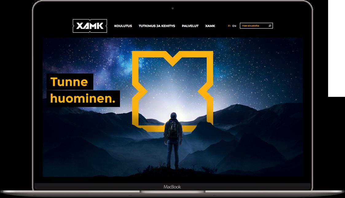 XAMK:n verkkopalvelu kannettavan näytöllä