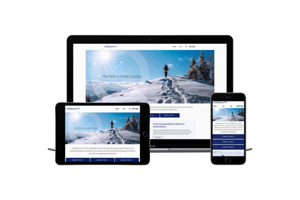 Labqualityn responsiivinen verkkosivusto tabletin, puhelimen ja kannettavan näytöllä