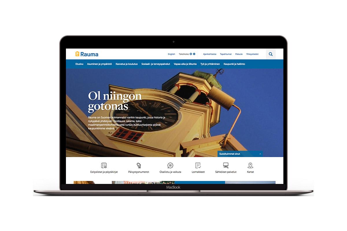 Rauman kaupungin verkkosivusto kannettavan näytöllä