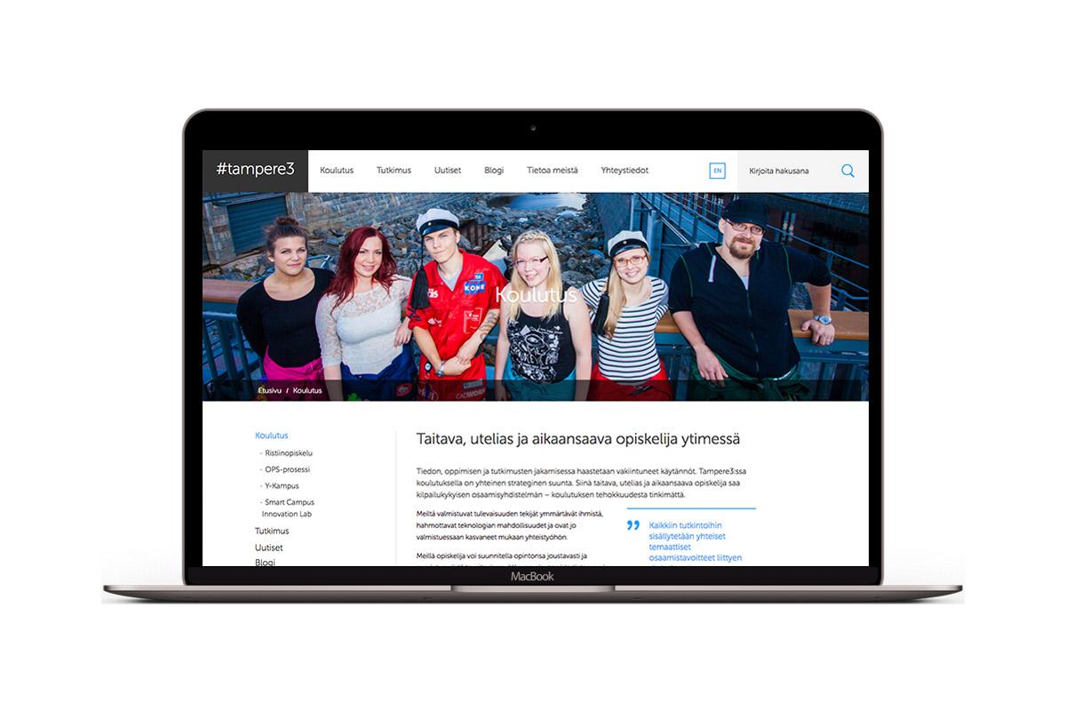 Tampere3-verkkosivusto kannettavan ruudulla