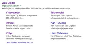 Näyte Googlen hakutulossivusta (SERP)